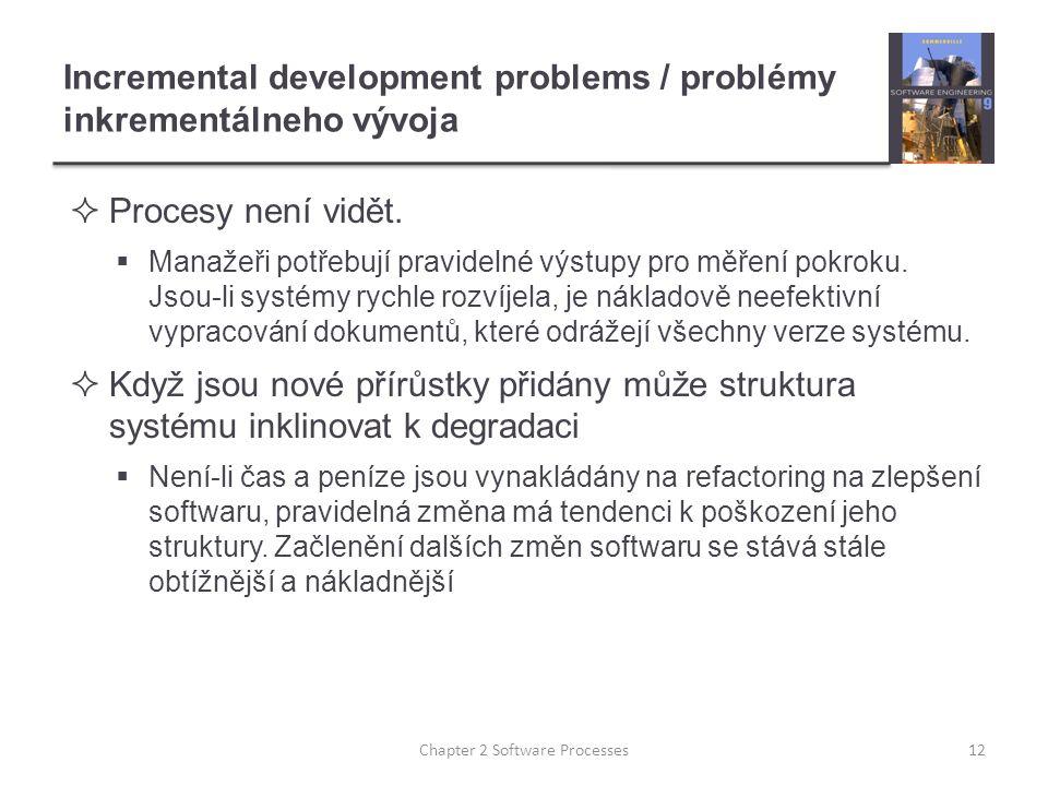 Incremental development problems / problémy inkrementálneho vývoja  Procesy není vidět.
