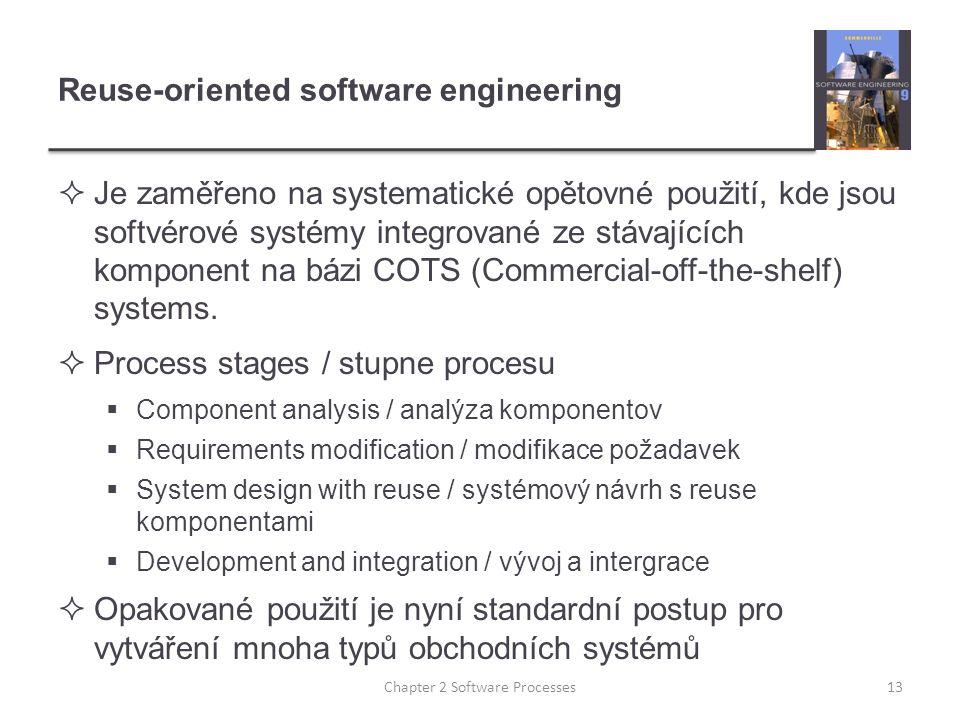 Reuse-oriented software engineering  Je zaměřeno na systematické opětovné použití, kde jsou softvérové systémy integrované ze stávajících komponent na bázi COTS (Commercial-off-the-shelf) systems.
