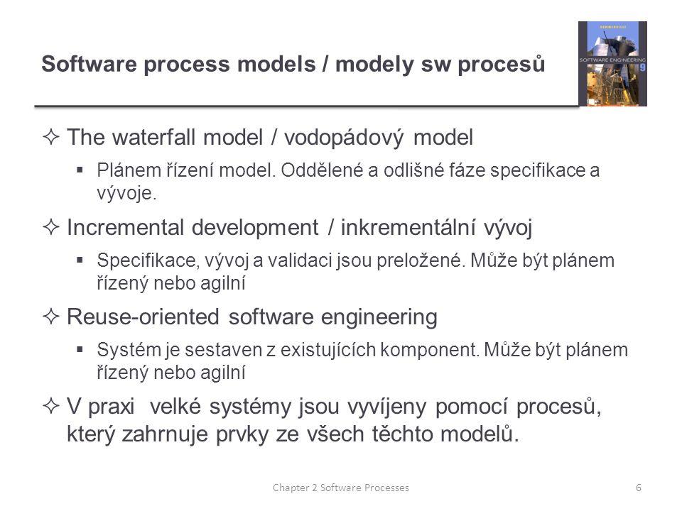 Software process models / modely sw procesů  The waterfall model / vodopádový model  Plánem řízení model. Oddělené a odlišné fáze specifikace a vývo