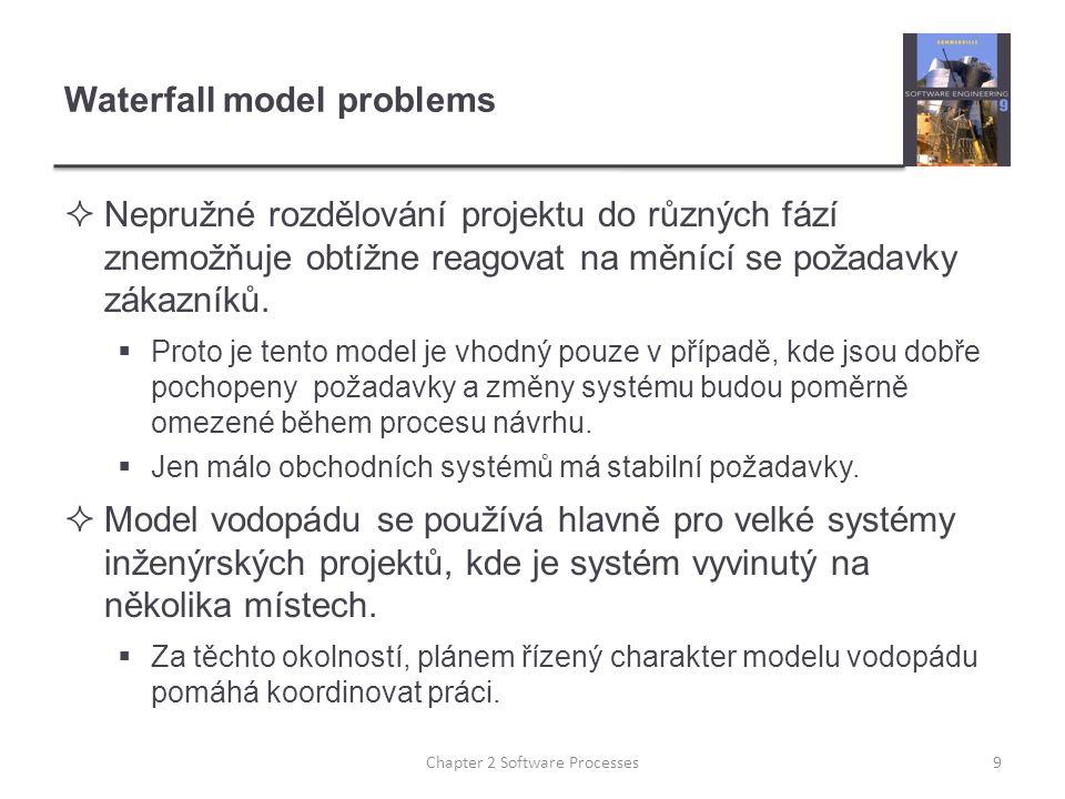 Waterfall model problems  Nepružné rozdělování projektu do různých fází znemožňuje obtížne reagovat na měnící se požadavky zákazníků.  Proto je tent