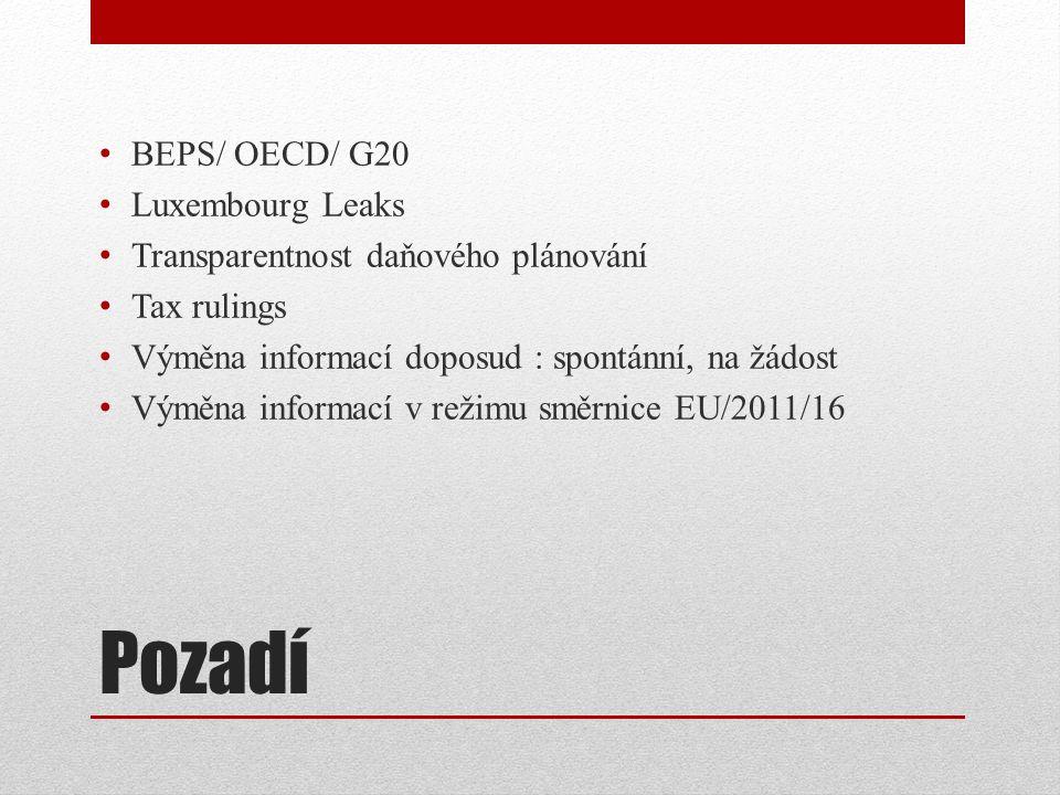 Pozadí BEPS/ OECD/ G20 Luxembourg Leaks Transparentnost daňového plánování Tax rulings Výměna informací doposud : spontánní, na žádost Výměna informací v režimu směrnice EU/2011/16