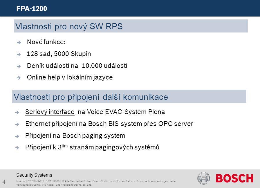 4 FPA-1200 Internal | ST/PRM2-EU | 13/11/2008 | © Alle Rechte bei Robert Bosch GmbH, auch für den Fall von Schutzrechtsanmeldungen. Jede Verfügungsbef