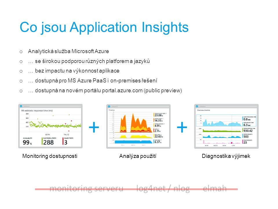 Monitoring dostupnostiAnalýza použitíDiagnostika výjimek Co jsou Application Insights ++ o Analytická služba Microsoft Azure o … se širokou podporou r