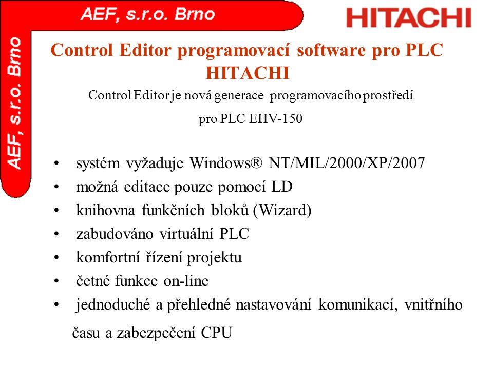 Control Editor programovací software pro PLC HITACHI systém vyžaduje Windows® NT/MIL/2000/XP/2007 možná editace pouze pomocí LD knihovna funkčních blo