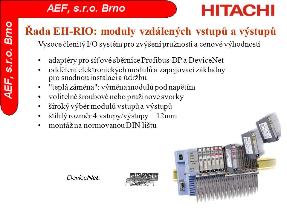 Řada EH-RIO: moduly vzdálených vstupů a výstupů adaptéry pro síťové sběrnice Profibus-DP a DeviceNet oddělení elektronických modulů a zapojovací zákla