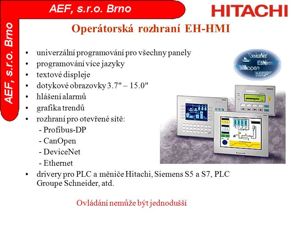 Operátorská rozhraní EH-HMI univerzální programování pro všechny panely programování více jazyky textové displeje dotykové obrazovky 3.7