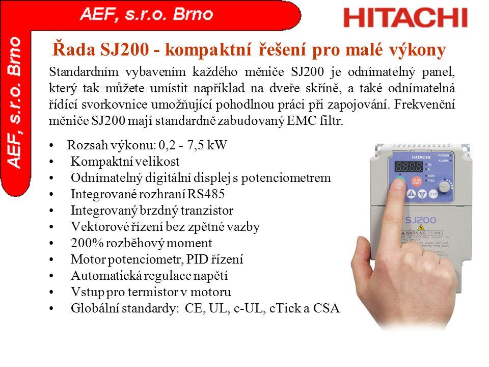 Řada SJ200 - kompaktní řešení pro malé výkony Rozsah výkonu: 0,2 - 7,5 kW Kompaktní velikost Odnímatelný digitální displej s potenciometrem Integrovan