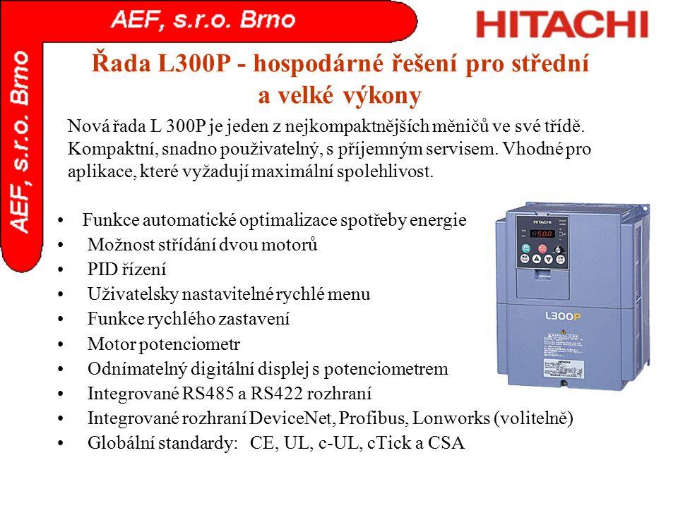 Řada L300P - hospodárné řešení pro střední a velké výkony Funkce automatické optimalizace spotřeby energie Možnost střídání dvou motorů PID řízení Uži