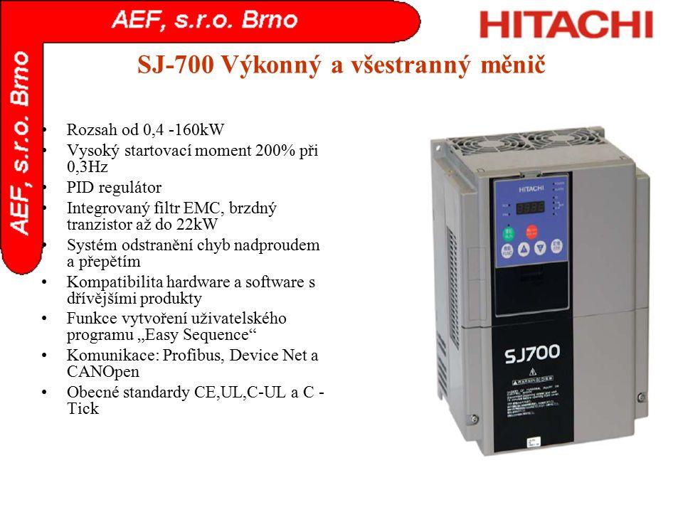 SJ-700 Výkonný a všestranný měnič Rozsah od 0,4 -160kW Vysoký startovací moment 200% při 0,3Hz PID regulátor Integrovaný filtr EMC, brzdný tranzistor