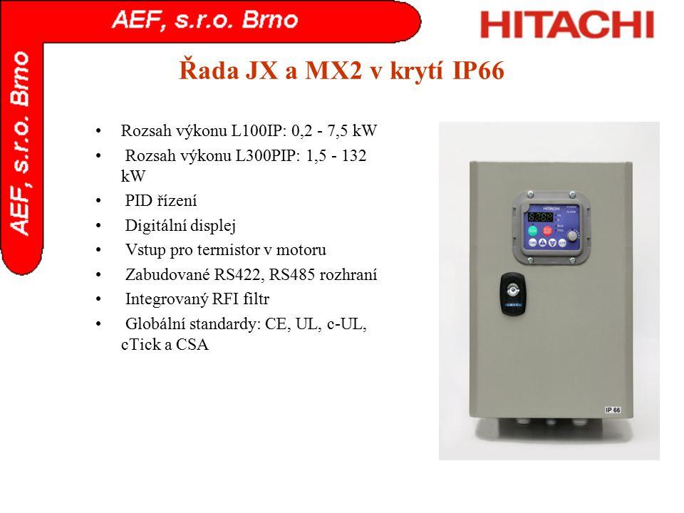Řada JX a MX2 v krytí IP66 Rozsah výkonu L100IP: 0,2 - 7,5 kW Rozsah výkonu L300PIP: 1,5 - 132 kW PID řízení Digitální displej Vstup pro termistor v m