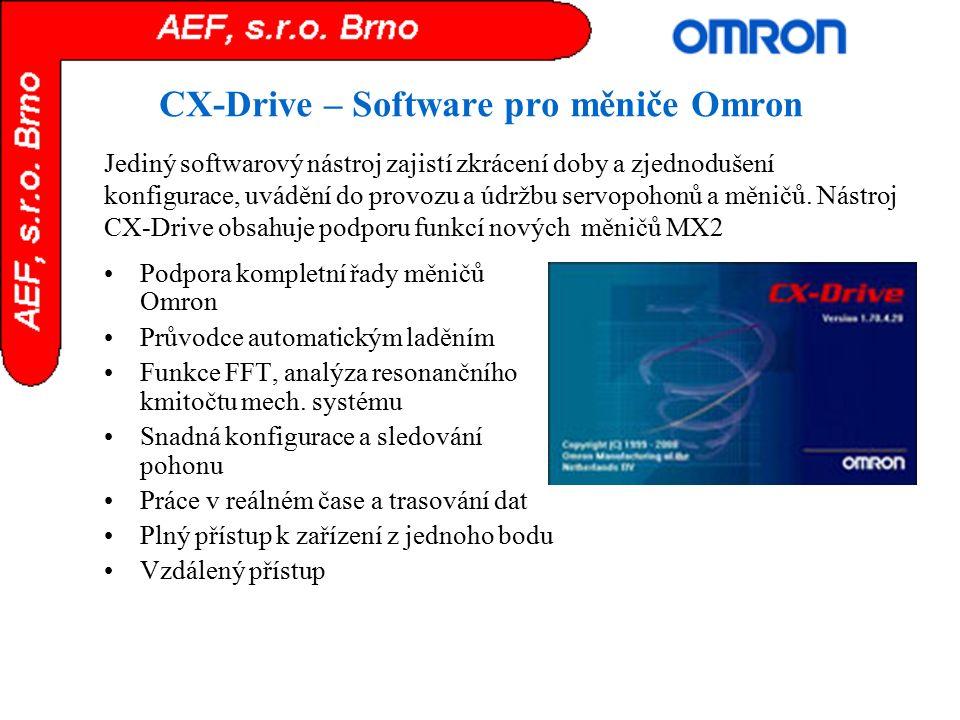 CX-Drive – Software pro měniče Omron Podpora kompletní řady měničů Omron Průvodce automatickým laděním Funkce FFT, analýza resonančního kmitočtu mech.