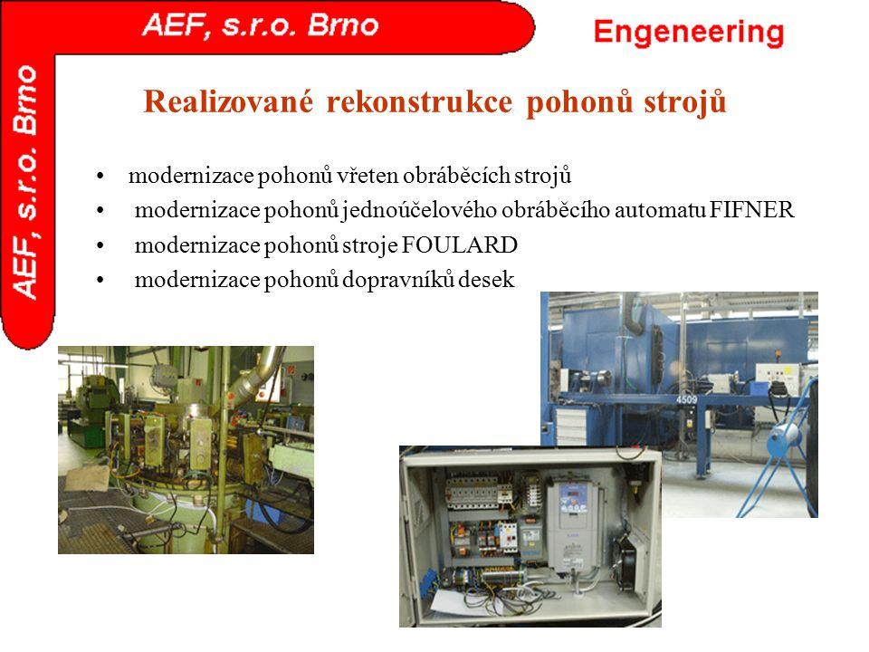 Realizované rekonstrukce pohonů strojů modernizace pohonů vřeten obráběcích strojů modernizace pohonů jednoúčelového obráběcího automatu FIFNER modern