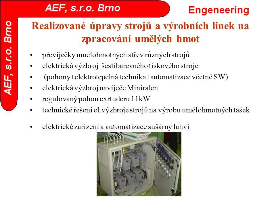 Realizované úpravy strojů a výrobních linek na zpracování umělých hmot převíječky umělohmotných střev různých strojů elektrická výzbroj šestibarevného