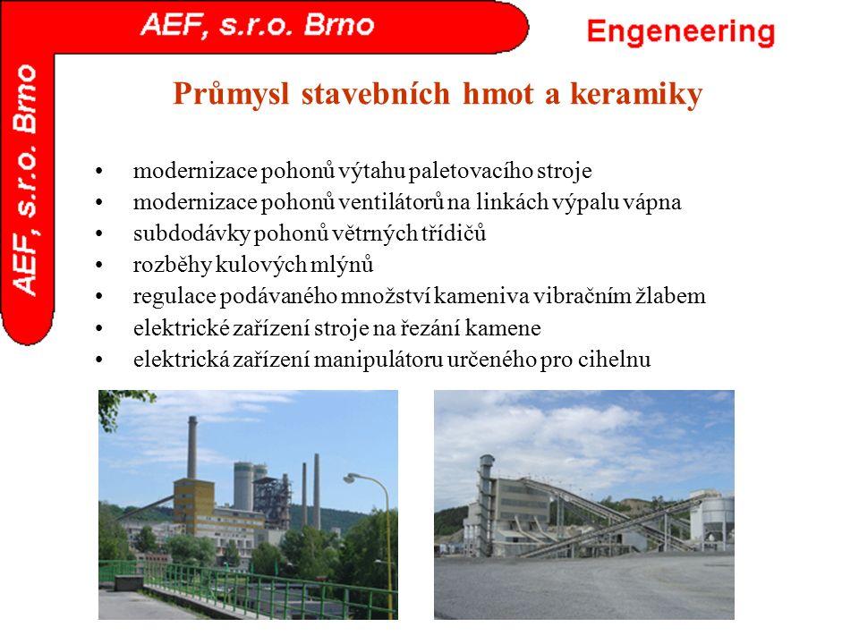 Průmysl stavebních hmot a keramiky modernizace pohonů výtahu paletovacího stroje modernizace pohonů ventilátorů na linkách výpalu vápna subdodávky poh