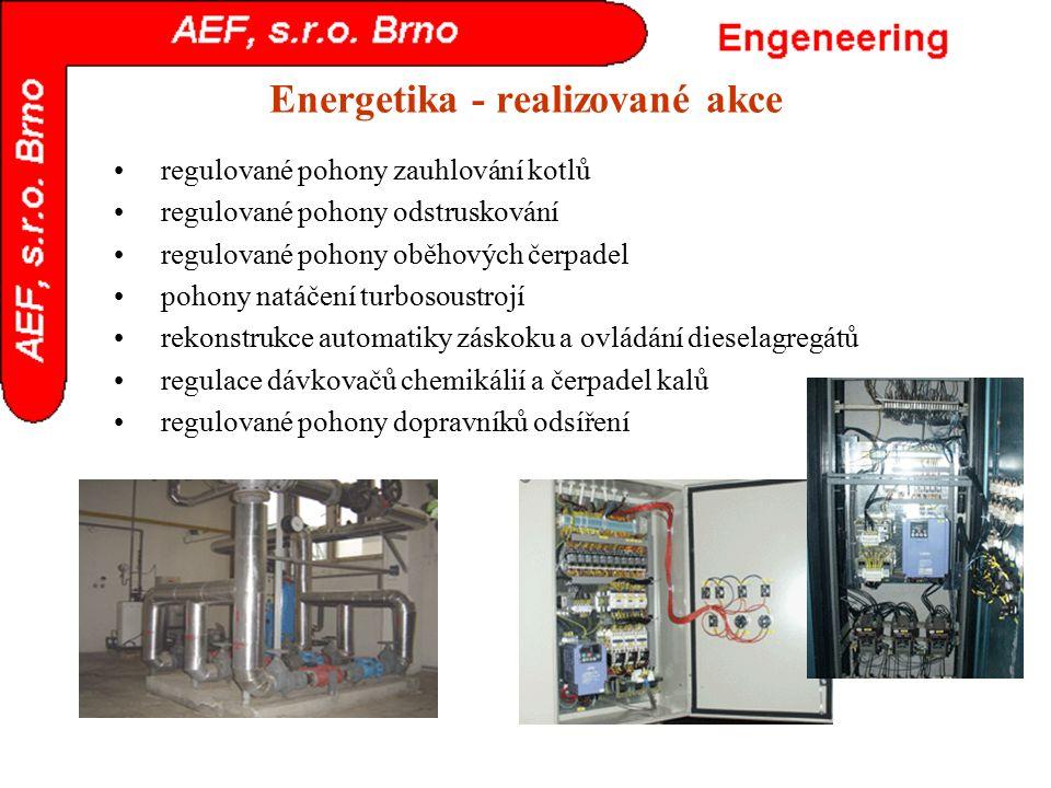 Energetika - realizované akce regulované pohony zauhlování kotlů regulované pohony odstruskování regulované pohony oběhových čerpadel pohony natáčení