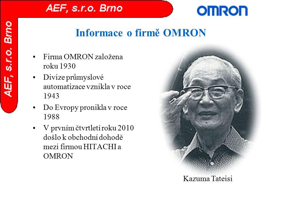 Informace o firmě OMRON Firma OMRON založena roku 1930 Divize průmyslové automatizace vznikla v roce 1943 Do Evropy pronikla v roce 1988 V prvním čtvr