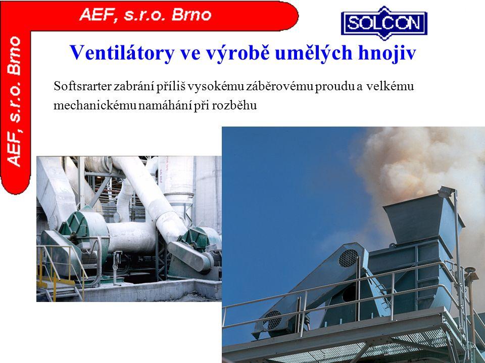 Ventilátory ve výrobě umělých hnojiv Softsrarter zabrání příliš vysokému záběrovému proudu a velkému mechanickému namáhání při rozběhu
