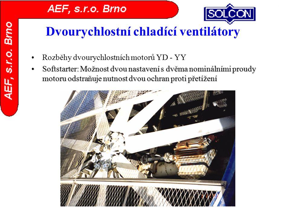 Dvourychlostní chladící ventilátory Rozběhy dvourychlostních motorů YD - YY Softstarter: Možnost dvou nastavení s dvěma nominálními proudy motoru odst
