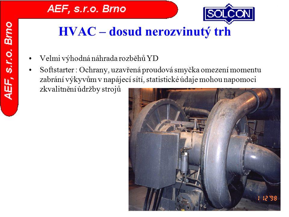 HVAC – dosud nerozvinutý trh Velmi výhodná náhrada rozběhů YD Softstarter : Ochrany, uzavřená proudová smyčka omezení momentu zabrání výkyvům v napáje