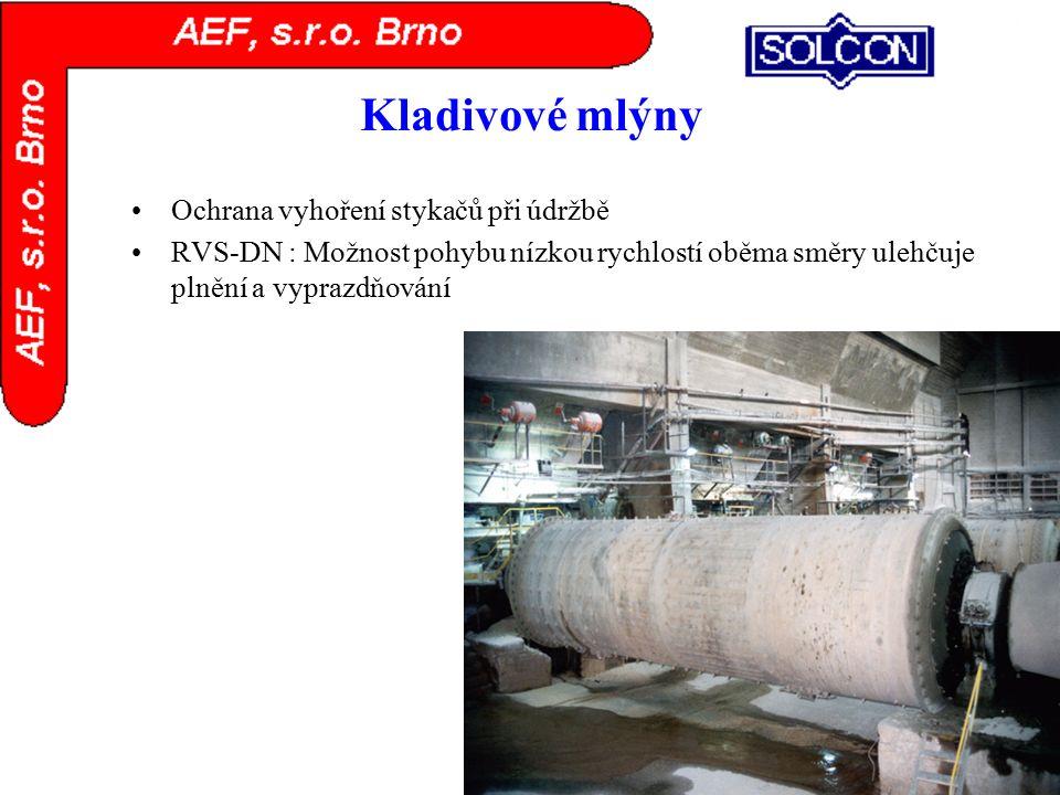 Kladivové mlýny Ochrana vyhoření stykačů při údržbě RVS-DN : Možnost pohybu nízkou rychlostí oběma směry ulehčuje plnění a vyprazdňování
