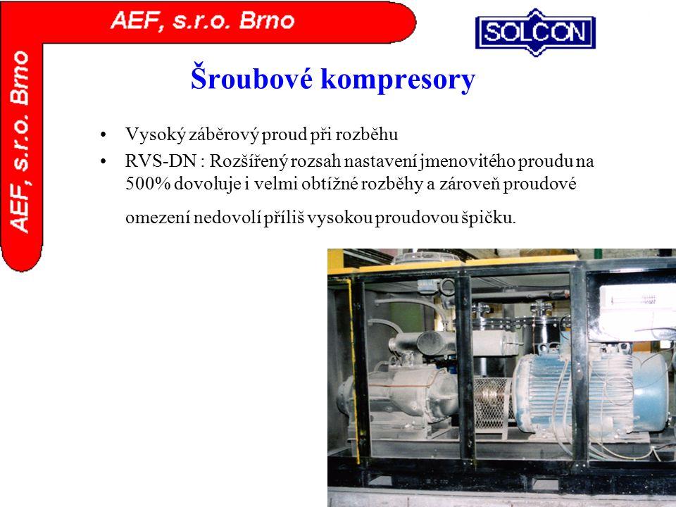 Šroubové kompresory Vysoký záběrový proud při rozběhu RVS-DN : Rozšířený rozsah nastavení jmenovitého proudu na 500% dovoluje i velmi obtížné rozběhy