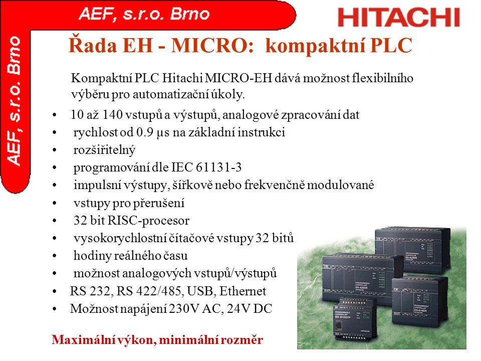 Řada EH - MICRO: kompaktní PLC 10 až 140 vstupů a výstupů, analogové zpracování dat rychlost od 0.9 µs na základní instrukci rozšiřitelný programování