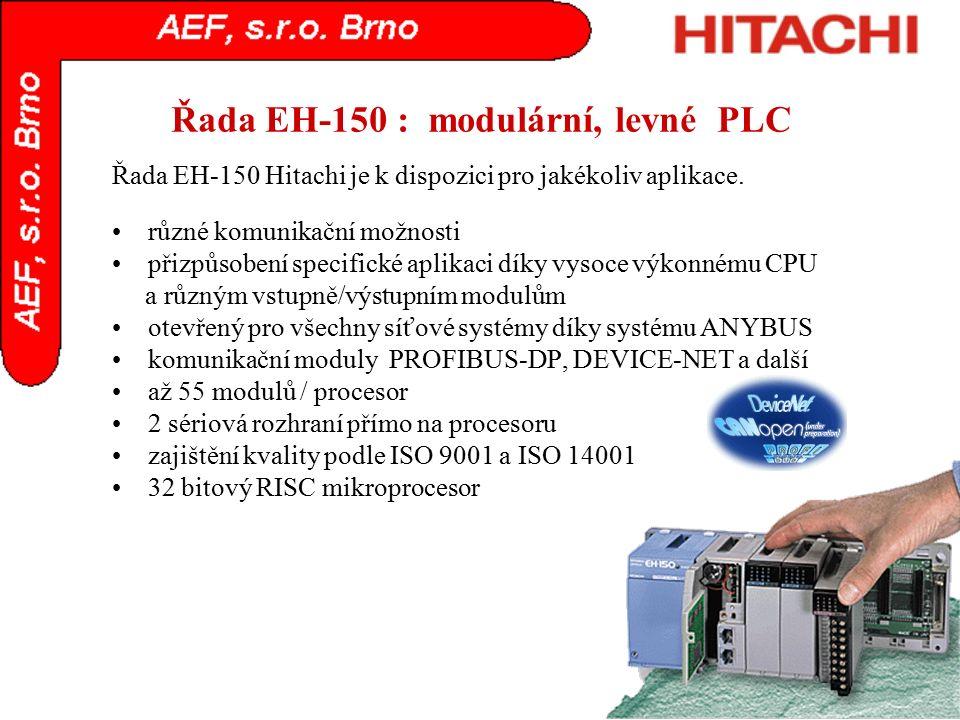 Řada EH-150 : modulární, levné PLC různé komunikační možnosti přizpůsobení specifické aplikaci díky vysoce výkonnému CPU a různým vstupně/výstupním mo
