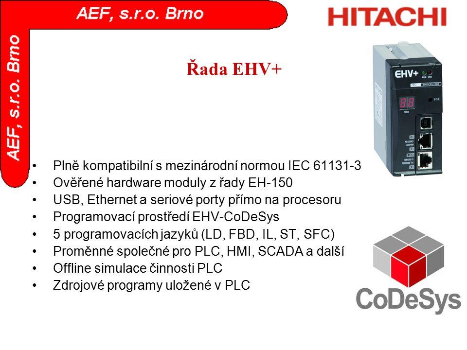 Řada EHV+ Plně kompatibilní s mezinárodní normou IEC 61131-3 Ověřené hardware moduly z řady EH-150 USB, Ethernet a seriové porty přímo na procesoru Pr