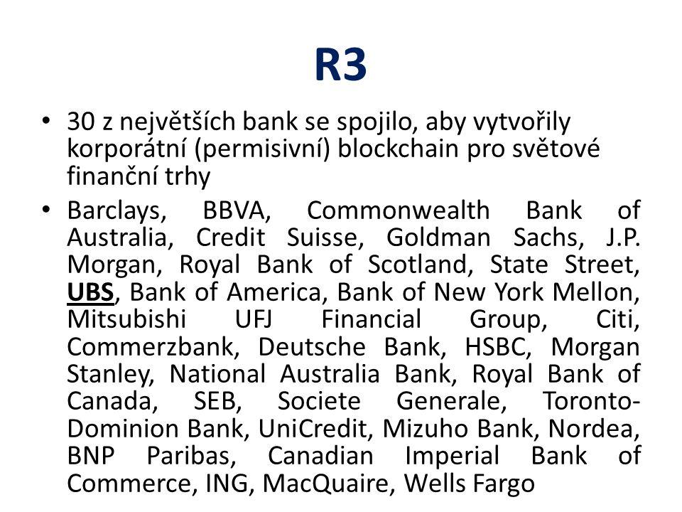 R3 30 z největších bank se spojilo, aby vytvořily korporátní (permisivní) blockchain pro světové finanční trhy Barclays, BBVA, Commonwealth Bank of Australia, Credit Suisse, Goldman Sachs, J.P.