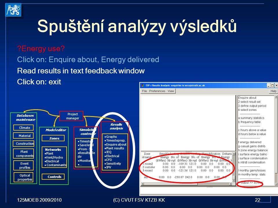 125MOEB 2009/201022(C) CVUT FSV KTZB KK Spuštění analýzy výsledků Energy use.