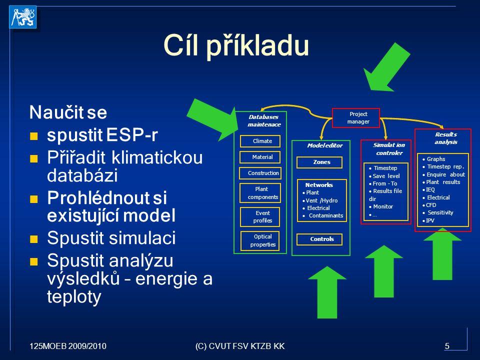 125MOEB 2009/20105(C) CVUT FSV KTZB KK Cíl příkladu Naučit se spustit ESP-r Přiřadit klimatickou databázi Prohlédnout si existující model Spustit simu