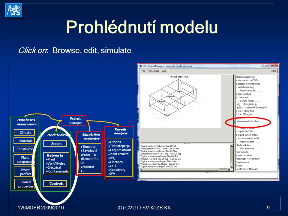 125MOEB 2009/20109(C) CVUT FSV KTZB KK Prohlédnutí modelu Click on: Browse, edit, simulate Project manager Climate Material Construction Plant components Event profiles Optical properties Databases maintenace Model editor Zones Networks Plant Vent/Hydro Electrical Contaminants Controls Simulation controler Results analysis Timestep Savelevel From-To Resultsfile dir Monitor … Graphs Timesteprep.
