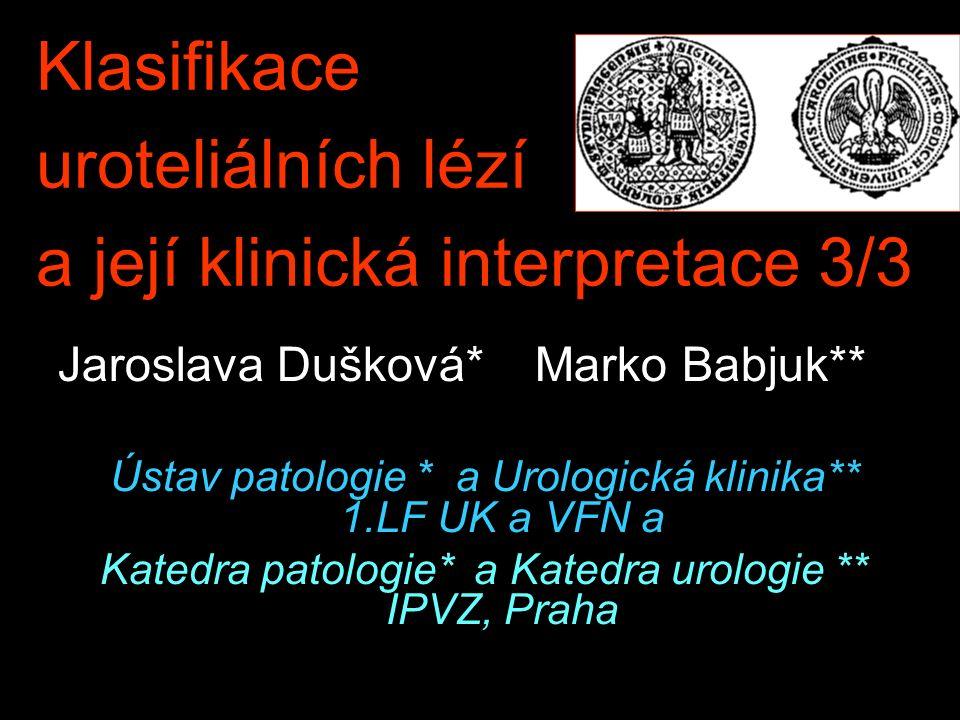 Klasifikace uroteliálních lézí a její klinická interpretace 3/3 Jaroslava Dušková* Marko Babjuk** Ústav patologie * a Urologická klinika** 1.LF UK a VFN a Katedra patologie* a Katedra urologie ** IPVZ, Praha