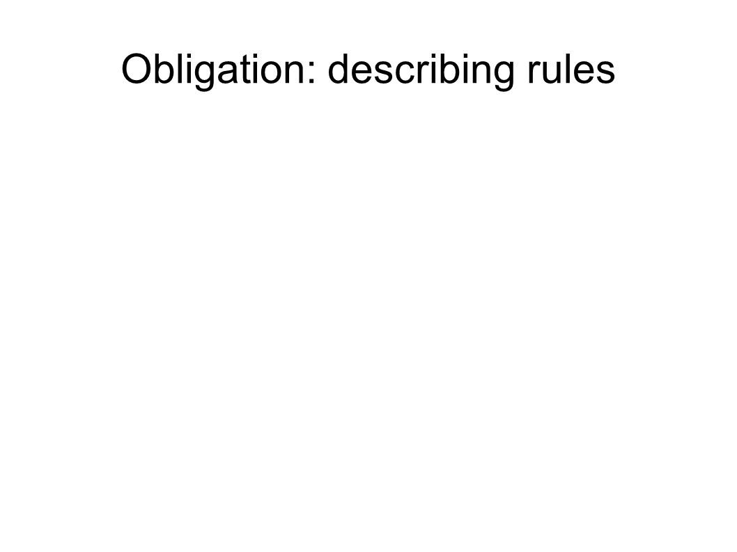 Obligation Verbs used to say something is obligatory: have to must be allowed to