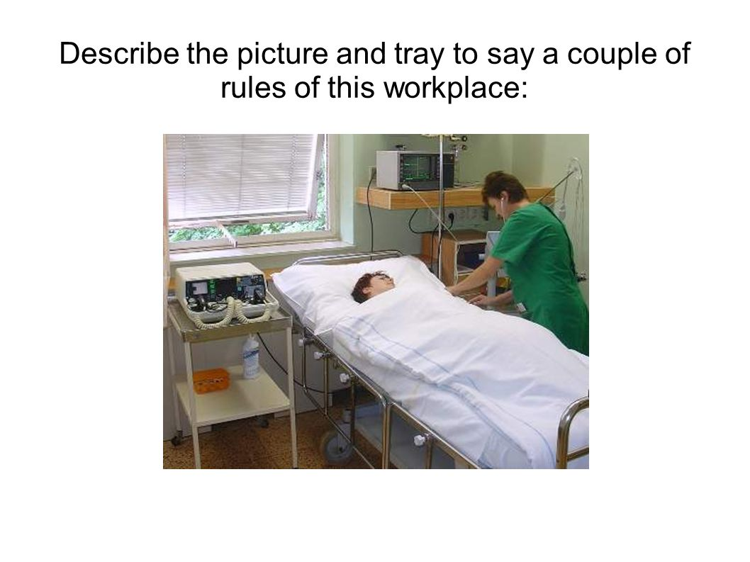 Describe the picture and tray to say a couple of rules of this workplace: