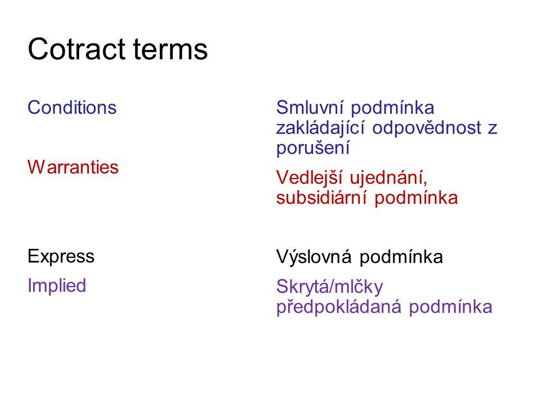 Cotract terms Conditions Warranties Express Implied Smluvní podmínka zakládající odpovědnost z porušení Vedlejší ujednání, subsidiární podmínka Výslovná podmínka Skrytá/mlčky předpokládaná podmínka