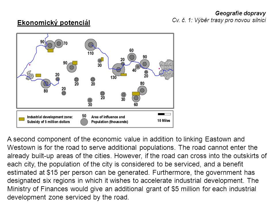 Geografie dopravy Cv. č. 1: Výběr trasy pro novou silnici Ekonomický potenciál A second component of the economic value in addition to linking Eastown