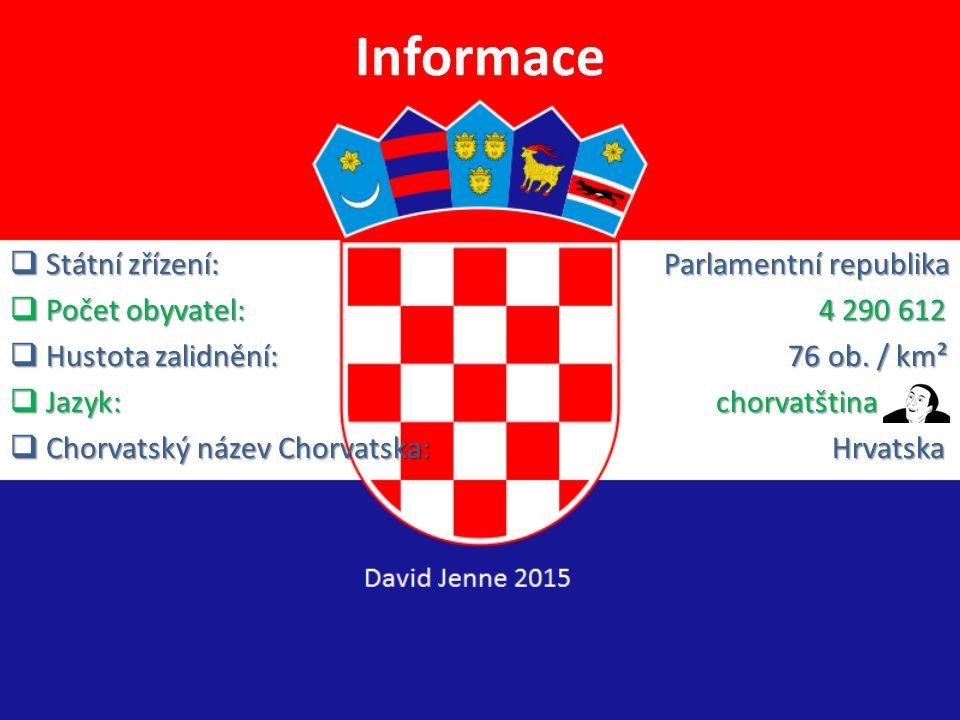 Informace  Hlavní město: Záhřeb  Rozloha: 56 542 km² (123. na světě)  Vznik (datum): 25. června 1991  Měna: Kuna (HRK) = 3.549 Kč  Prezidentka: K