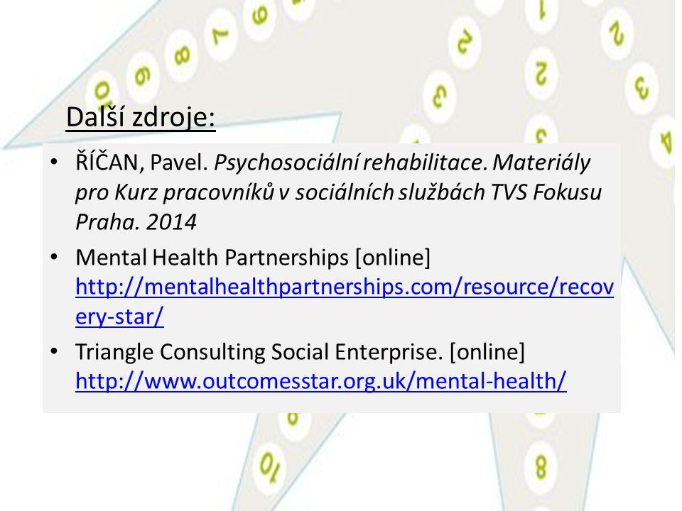 Další zdroje: ŘÍČAN, Pavel. Psychosociální rehabilitace. Materiály pro Kurz pracovníků v sociálních službách TVS Fokusu Praha. 2014 Mental Health Part
