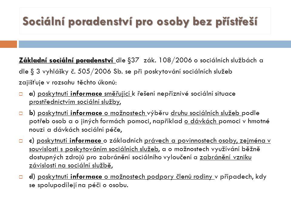 Sociální poradenství pro osoby bez přístřeší Základní sociální poradenství Základní sociální poradenství dle §37 zák.