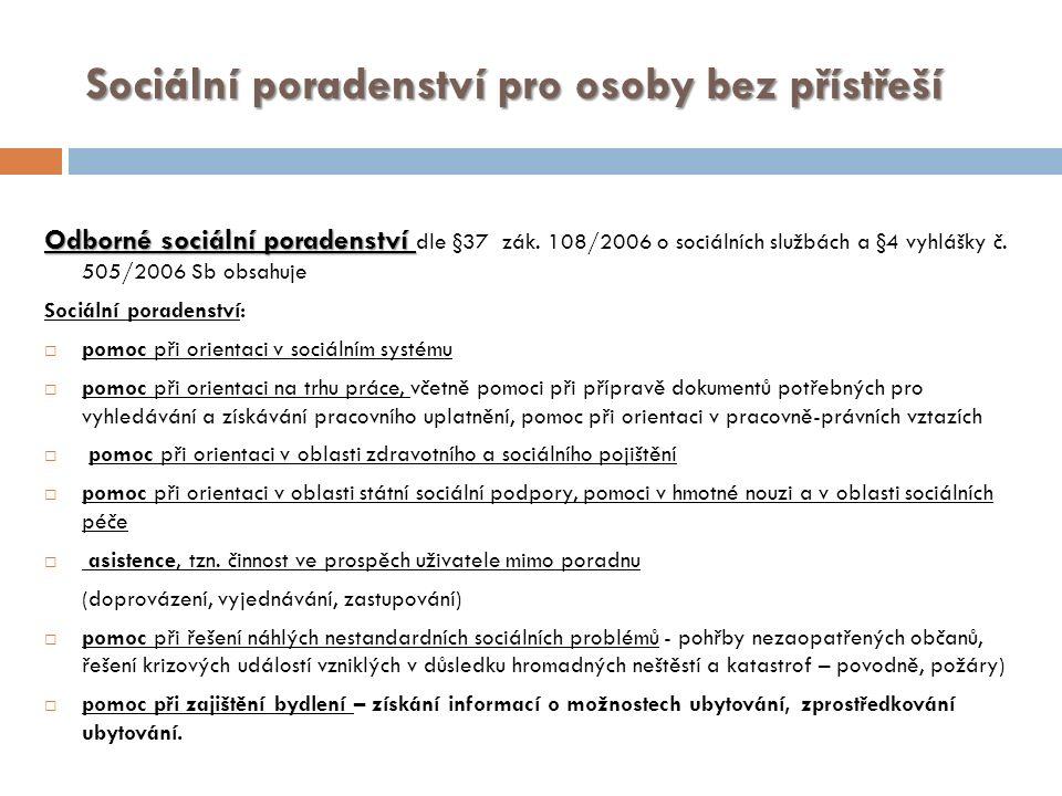 Sociální poradenství pro osoby bez přístřeší Odborné sociální poradenství Odborné sociální poradenství dle §37 zák.