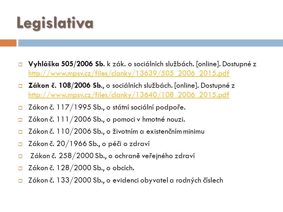 Legislativa  Vyhláška 505/2006 Sb. k zák. o sociálních službách.