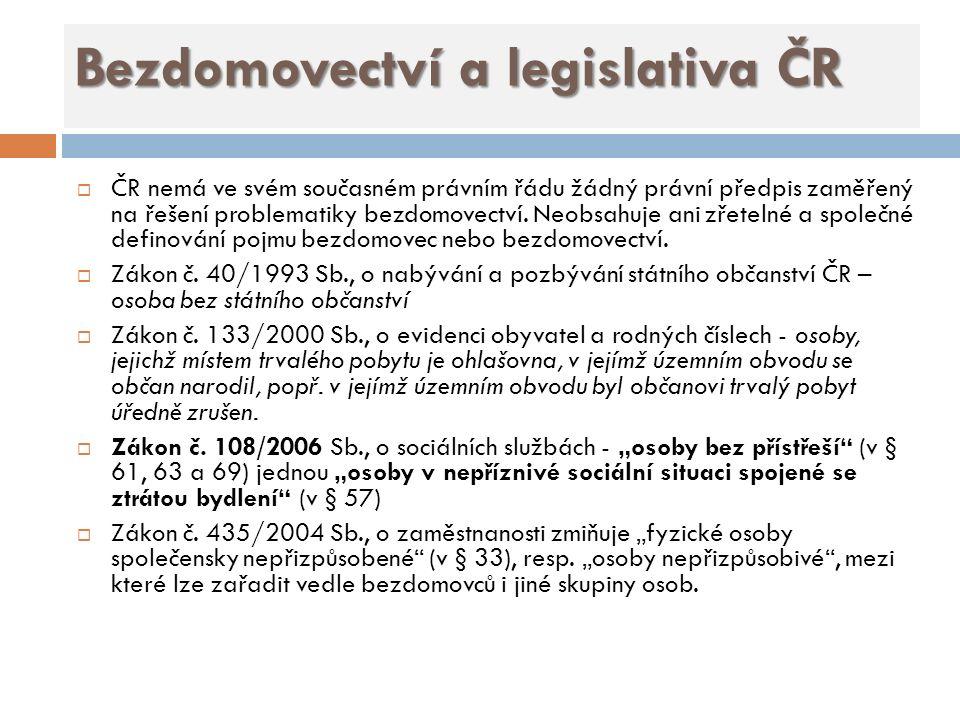 Bezdomovectví a legislativa ČR  ČR nemá ve svém současném právním řádu žádný právní předpis zaměřený na řešení problematiky bezdomovectví.