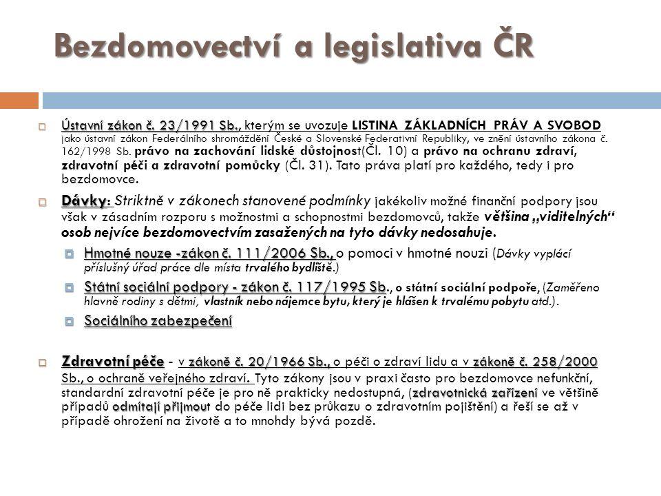 Bezdomovectví a legislativa ČR  Ústavní zákon č. 23/1991 Sb.