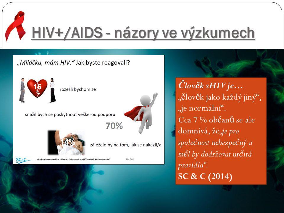 """HIV+/AIDS - názory ve výzkumech Č lov ě k sHIV je… """" č lov ě k jako každý jiný"""", """"je normální"""". Cca 7 % ob č an ů se ale domnívá, že""""je pro spole č no"""