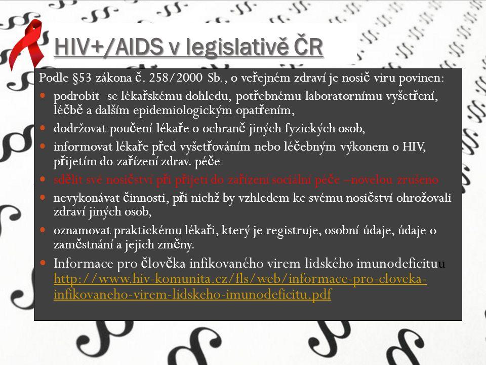 HIV+/AIDS v legislativě ČR Podle §53 zákona č.