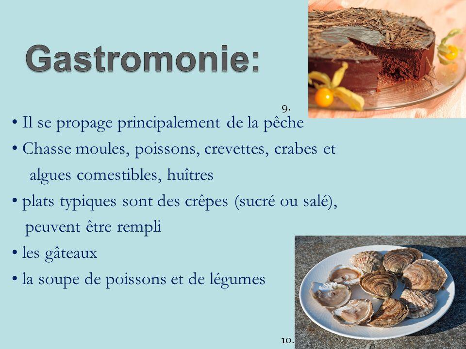 Il se propage principalement de la pêche Chasse moules, poissons, crevettes, crabes et algues comestibles, huîtres plats typiques sont des crêpes (sucré ou salé), peuvent être rempli les gâteaux la soupe de poissons et de légumes 10.