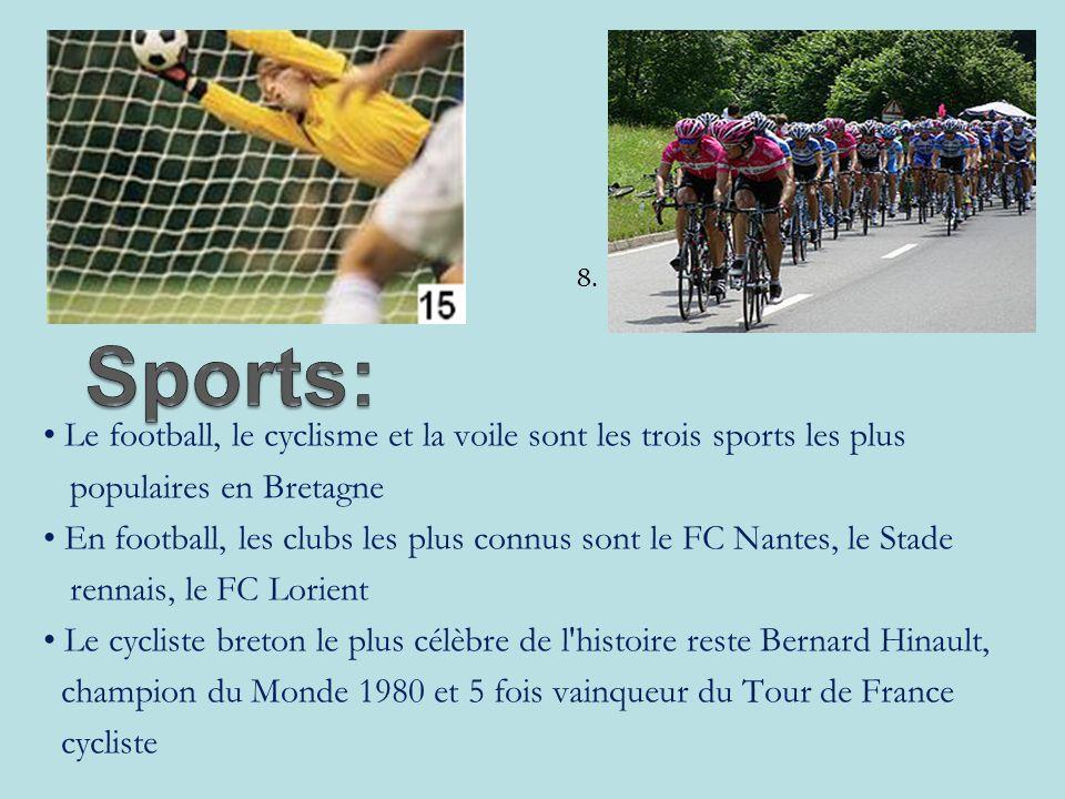 Le football, le cyclisme et la voile sont les trois sports les plus populaires en Bretagne En football, les clubs les plus connus sont le FC Nantes, le Stade rennais, le FC Lorient Le cycliste breton le plus célèbre de l histoire reste Bernard Hinault, champion du Monde 1980 et 5 fois vainqueur du Tour de France cycliste 8.