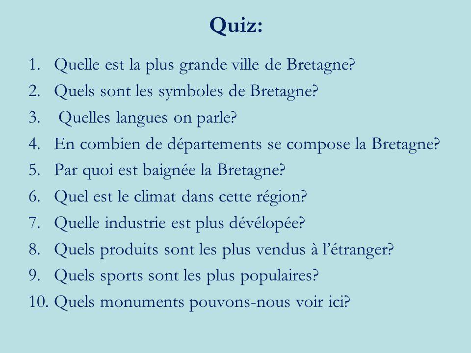 Quiz: 1.Quelle est la plus grande ville de Bretagne.