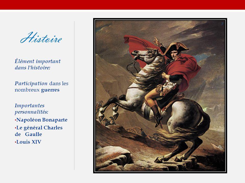 Histoire Élément important dans l histoire: Participation dans les nombreux guerres Importantes personnalités: Napoléon Bonaparte Le général Charles de Gaulle Louis XIV 3